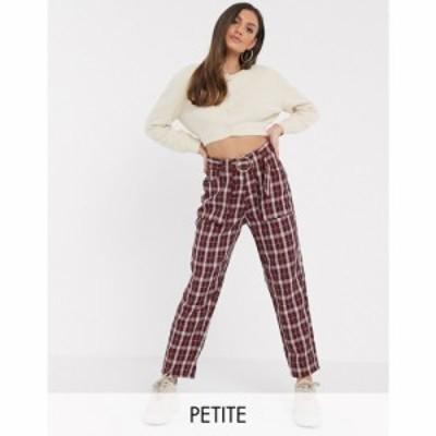 ミスガイデッド Missguided Petite レディース ボトムス・パンツ belted cigarette trousers in burgundy check マルチカラー