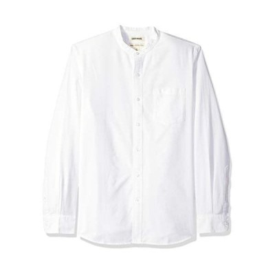 Goodthreads (グッドスレッズ) メンズ スタンダードフィット 長袖 バンドカラー オックスフォードシャツ ホワイト S