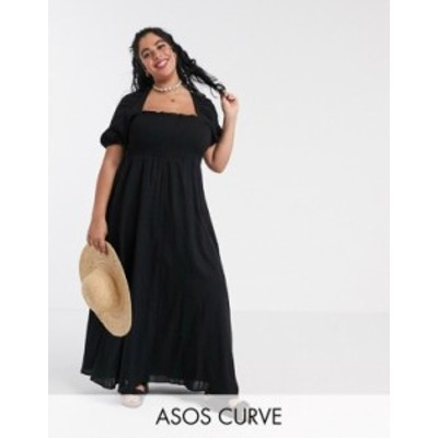 エイソス レディース ワンピース トップス ASOS DESIGN Curve shirred bustier maxi dress with puff sleeve in seersucker in black Bla