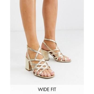 エイソス レディース サンダル シューズ ASOS DESIGN Wide Fit Winning strappy block heeled sandals in gold