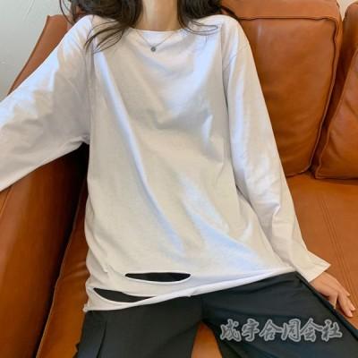 大きいサイズ 春秋 Tシャツ レディース 長袖 カシュクール クルーネック ティーシャツ 無地 スリム 美シルエット 着痩せ 女性 20代30代40代 セクシー