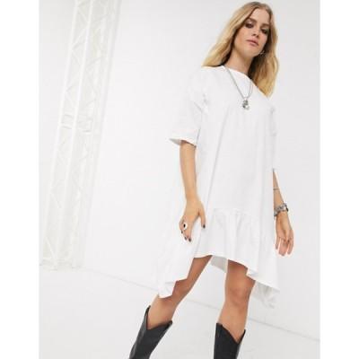 エイソス レディース ワンピース トップス ASOS DESIGN oversized smock dress with tiered dip hem in white