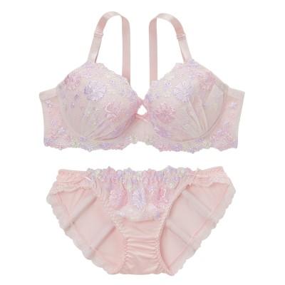 フェミニンフラワリー刺しゅう ブラジャー・ショーツセット ラージサイズ(H75/L) (ブラジャー&ショーツセット)Bras & Panties