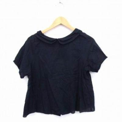 【中古】MAISON DE PLAGE シャツ ブラウス 2枚襟 重ね襟 ストライプ 半袖 コットン 綿 F ブラック 黒 /FT29 レディース