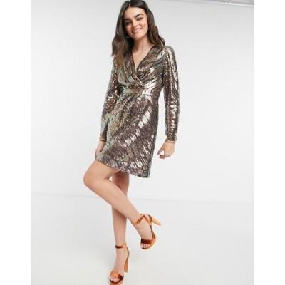 テッドベーカー レディース ワンピース トップス Ted Baker Pipii stripe sequin mini dress in light pink