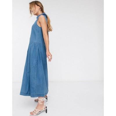 ウェアハウス Warehouse レディース ワンピース デニム ノースリーブ ミドル丈 ワンピース・ドレス sleeveless denim midi dress in blue ブルー