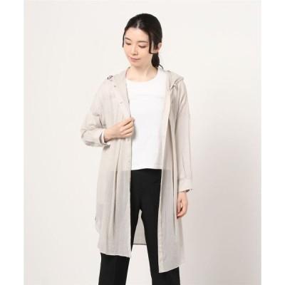 ジャケット ブルゾン 【Chumandor】綿楊柳素材フードロングシャツブルゾン