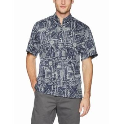 Reyn Spooner レインスプーナー ファッション アウター Reyn Spooner Men Blue Medium M Classic Fit Reverse Print Hawaiian Shirt