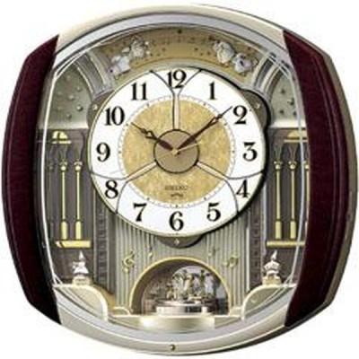 SEIKO セイコー 掛け時計 電波 アナログ からくり 6曲メロディ 回転飾り 濃茶マーブル模様 RE564H【お取り寄せ】