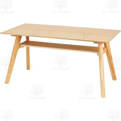 ダイニングテーブル 【ナチュラル】 天然木化粧合板(アッシュ) 天然木(ラバーウッド) ウレタン塗装