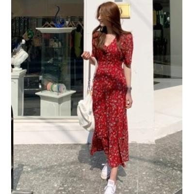 韓国 ファッション レディース ワンピース ロング ワンピ シフォン 花柄 Vネック ギャザー ハイウエスト オルチャン 半袖 レトロ 大人可