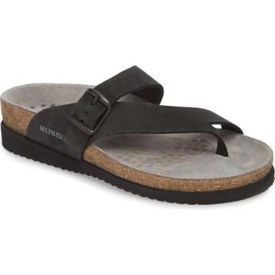 メフィスト MEPHISTO レディース サンダル・ミュール シューズ・靴 'Helen' Sandal Black Nubuck