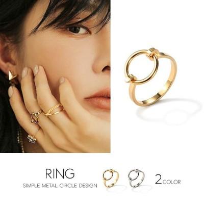 指輪 リング レディース アクセサリー デザインリング シンプルリング サークルフェイスデザインリング カラー:2タイプ(約13〜14号相当)
