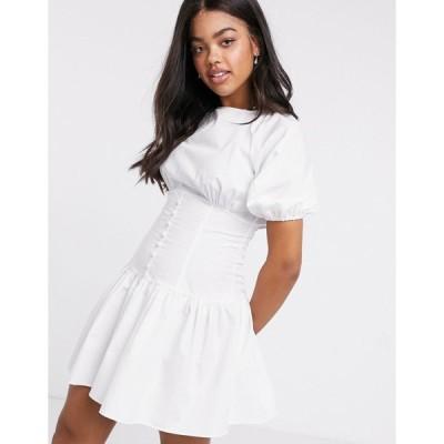 エイソス ミニドレス レディース ASOS DESIGN cotton poplin mini dress with button waist and puff sleeves in white エイソス ASOS ホワイト 白