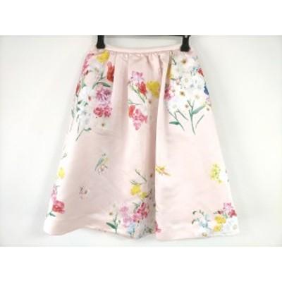 チェスティ Chesty スカート サイズ0 XS レディース 美品 - ピンク×マルチ ひざ丈/花柄【中古】20200820