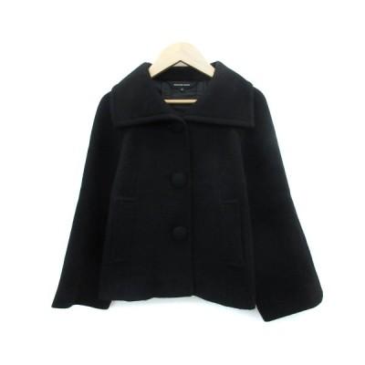 【中古】クイーンズコート QUEENS COURT コート ステンカラー ショート丈 ウール 2 ブラック 黒 /YM3 レディース 【ベクトル 古着】