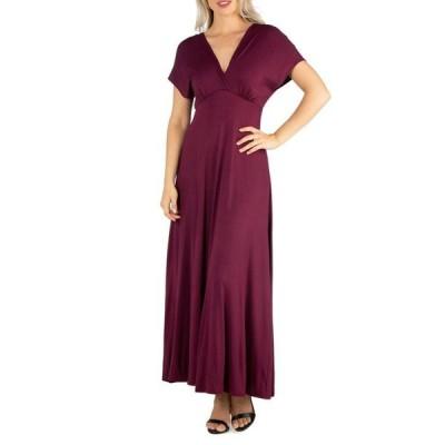 24セブンコンフォート レディース ワンピース トップス Women's Cap Sleeve V-Neck Maxi Dress