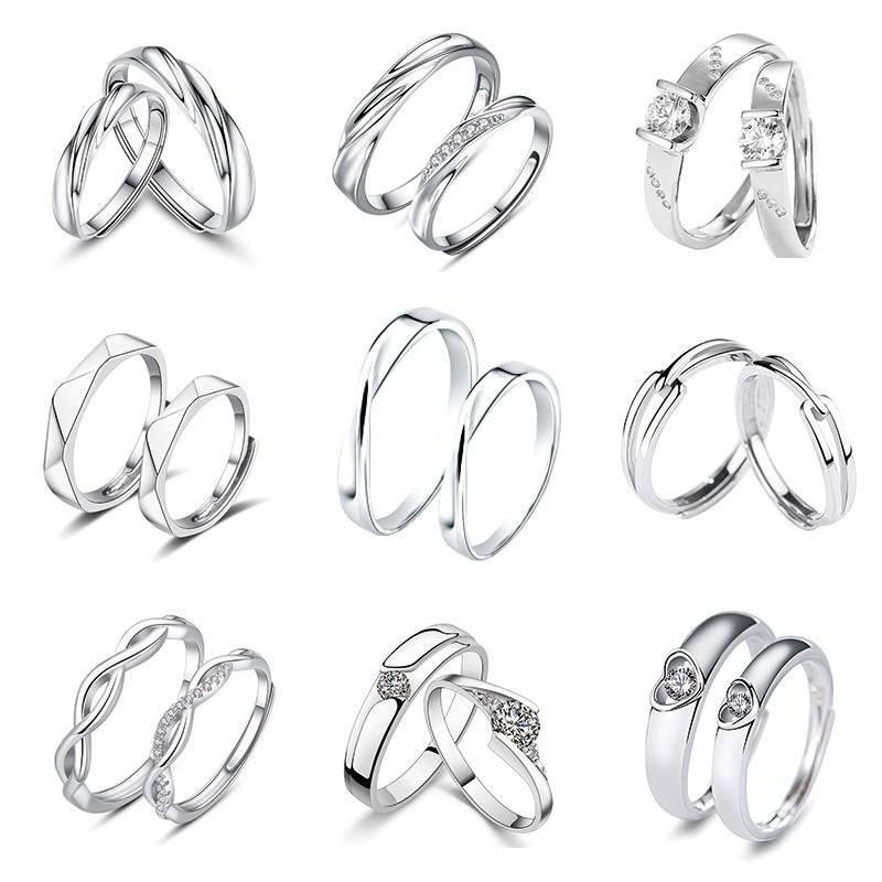 純銀對戒 S925純銀戒指 情侶戒指【365ME】可調大小 開口戒 情侶對戒 如假包換