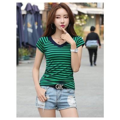TシャツVネックカジュアルシャツ可愛い系無地ファッション今季新作女子