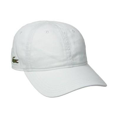 Lacoste メンズ コットンギャバジン 帽子 緑のクロコダイルロゴマーク入り US サイズ: One Size カラー: ホワイト