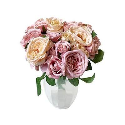 フラワーブーケ ガーベラ ローズ 3束セット花束 造花 枯れない花 バラ 薔薇 母の日 父の日 ギフト プレゼント インテリア (ローズ【ピンク】)