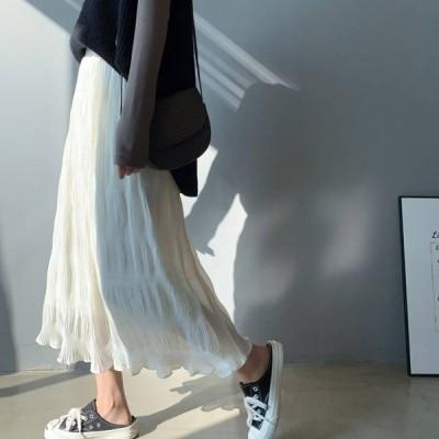 ワッシャープリーツスカート スカート ウエストゴム プリーツスカート ボトムス しわ加工 レディースファッション かわいい カジュアル 大人女子 ママファッシ…