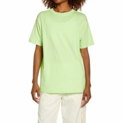 ナイキ NIKE レディース Tシャツ トップス Essential Embroidered Swoosh Cotton T-Shirt Key Lime/White