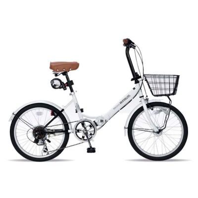 《バスケット・LEDオートライト・ワイヤーロック付属のオールインワンタイプ》My Pallas 20インチ 6段変速折りたたみ自転車M-204MERRY-W