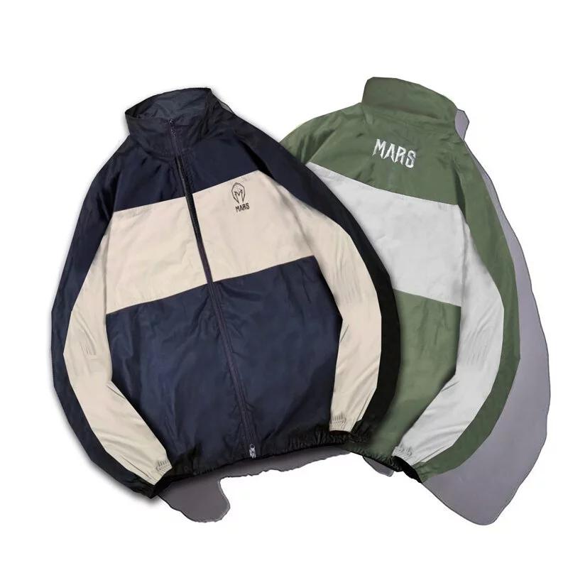 [戰神 MARS] 雙色拼接風衣外套