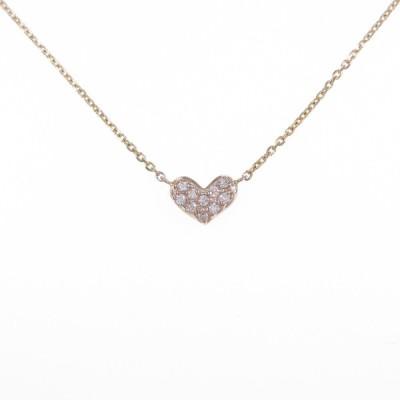 K18YG ハート ダイヤモンドネックレス