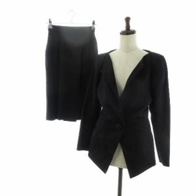 【中古】ノーベスパジオ スーツ セットアップ ジャケット ノーカラー スカート タイト ひざ丈 ウール 無地 M 黒