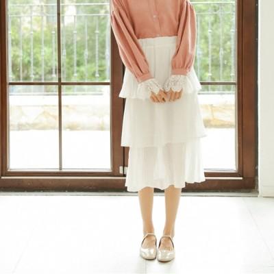 長いシフォンケーキスカートスカート女性の秋の緩いハイウエスト甘いプリーツスカート