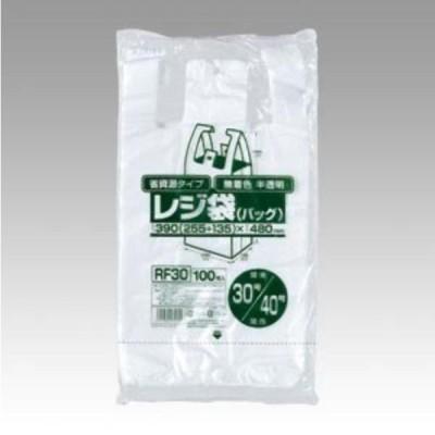 省資源レジ袋東30西40号100枚入HD半透明RF30 まとめ買い 30袋×5ケース 合計150袋セット 38-391