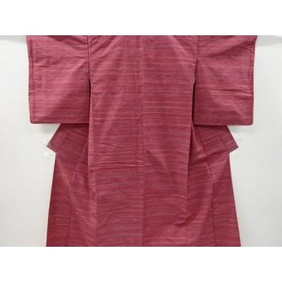 宗sou 横段模様織り出し手織り紬着物【リサイクル】【着】