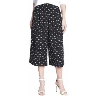 Vince ヴィンス ファッション パンツ Vince Camuto Womens Pants Black Size 0 Printed Wide-Leg Culotte Cropped