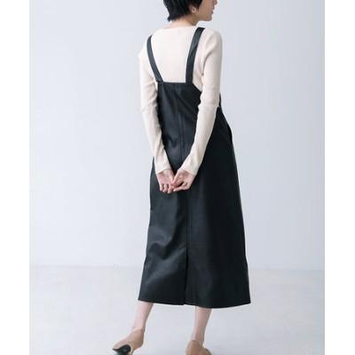 フェイクレザージャンスカ/ジャンパースカート