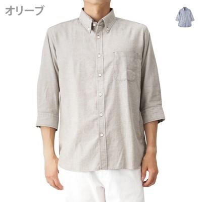 Navy ネイビー オーガニック100オックス無地七分袖シャツ BGQ700 メンズ