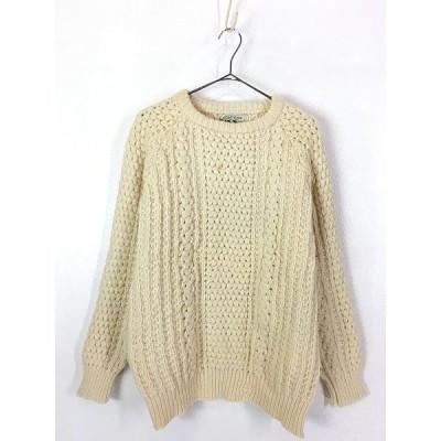 古着 80s Clady Knit 人気 ポップコーン ウール アラン フィッシャーマン ニット セーター XL位 古着