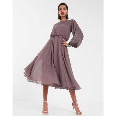 エイソス ASOS DESIGN レディース ワンピース ミドル丈 ワンピース・ドレス Midi Dress With Linear Yoke Embellishment In Mauve モーヴ