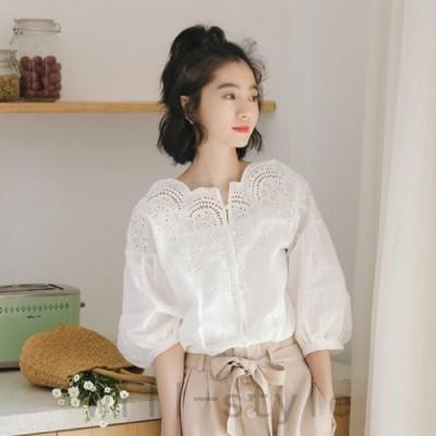 パンチングレースブラウス韓国オルチャンストリートパフスリーブきれいめかわいいガーリースカラップ原宿系トップス