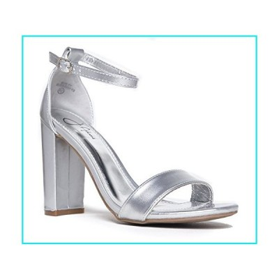 Strappy Chunky Block High Heel, Silver Metallic PU, 7 B(M) US【並行輸入品】