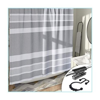 新品DESIHOM Grey Striped Shower Curtain with 12 Rust-Resistant Metal Double Glide Shower Hooks, Modern Neutral Pattern Shower Curtain Mens