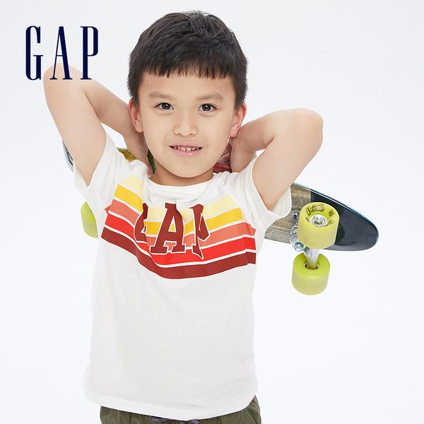 Gap男童 純棉創意印花短袖T恤 696619-白色