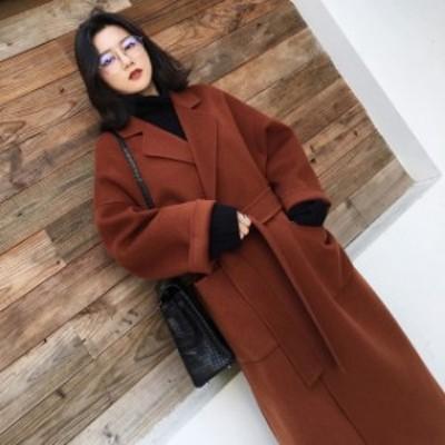 ロングガウンコート コート ロングコート レディース コートロング丈 オーバーサイズ カジュアル 上品 スリット 秋 冬 韓国 ファッション