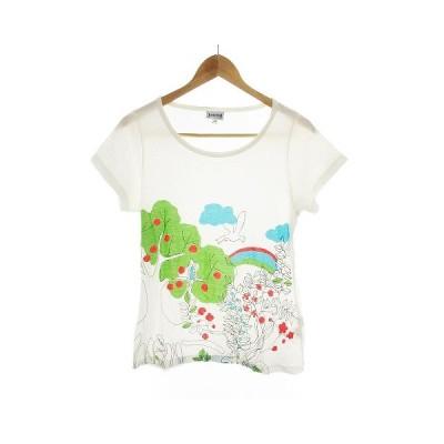 【中古】ホコモモラデシビラ Jocomomola de Sybilla Tシャツ カットソー 半袖 プリント 40 白 ホワイト /CK レディース 【ベクトル 古着】