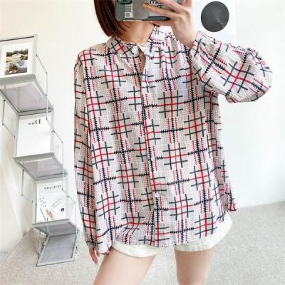 シャツ ブラウス バンドカラーシャツ  柄シャツ 長袖   ゆったり トップス  カジュアル ママコーデ 羽織り 大きいサイズ