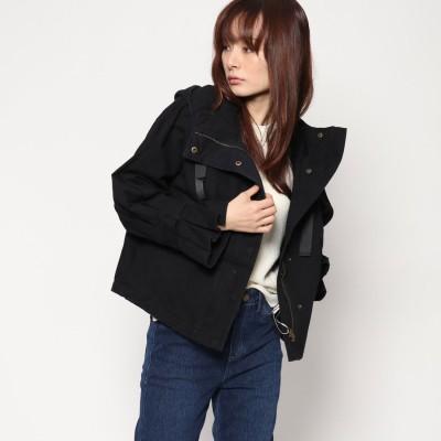 スタイルブロック STYLEBLOCK 綿ツイルフリルスリーブフーディミリタリージャケット (ブラック)