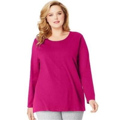 レディース 衣類 トップス OJ288 Long-Sleeve Scoop-Neck 100 Percentage Cotton Womens Tees Sizzling Pink - 5XL Tシャツ
