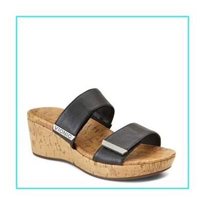 Vionic Women's Atlantic Pepper Adjustable Platform Sandal - Ladies Wedge with Concealed Orthotic Arch Support Black Leather 9 M US【並行輸入品
