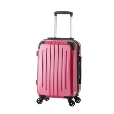 軽量スーツケース/キャリーバッグ 〔ピンク〕 61L 3.8kg ファスナー 大型キャスター TSAロック 〔送料無料〕